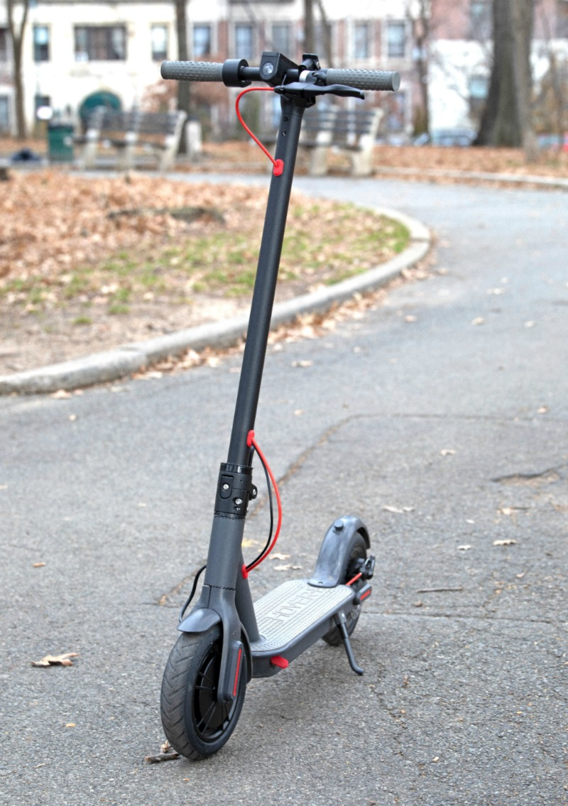 electric folding scooter in park