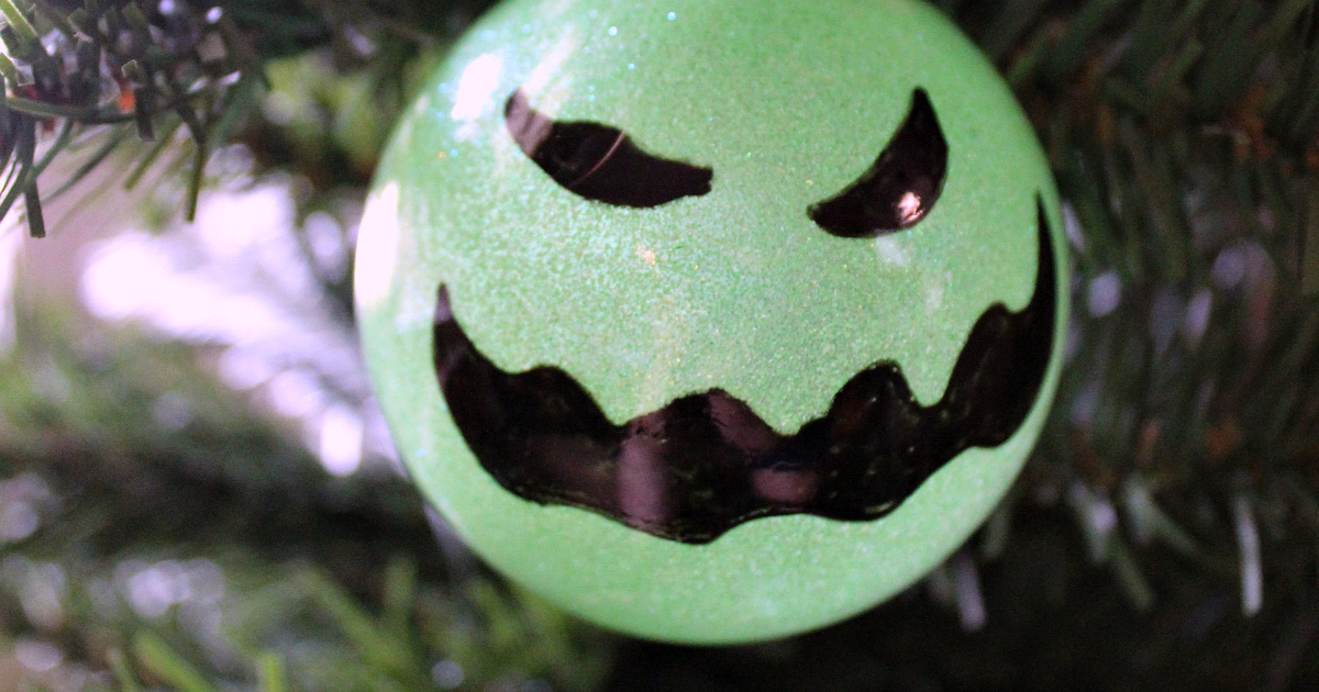 feature oogie boogie ornament close up