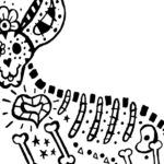 Free Printable Skeleton Dog Coloring Page