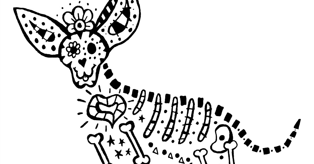 skeleton dog coloring page