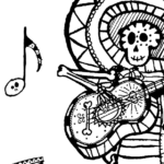 Day of the Dead Skeleton Musician Coloring Page