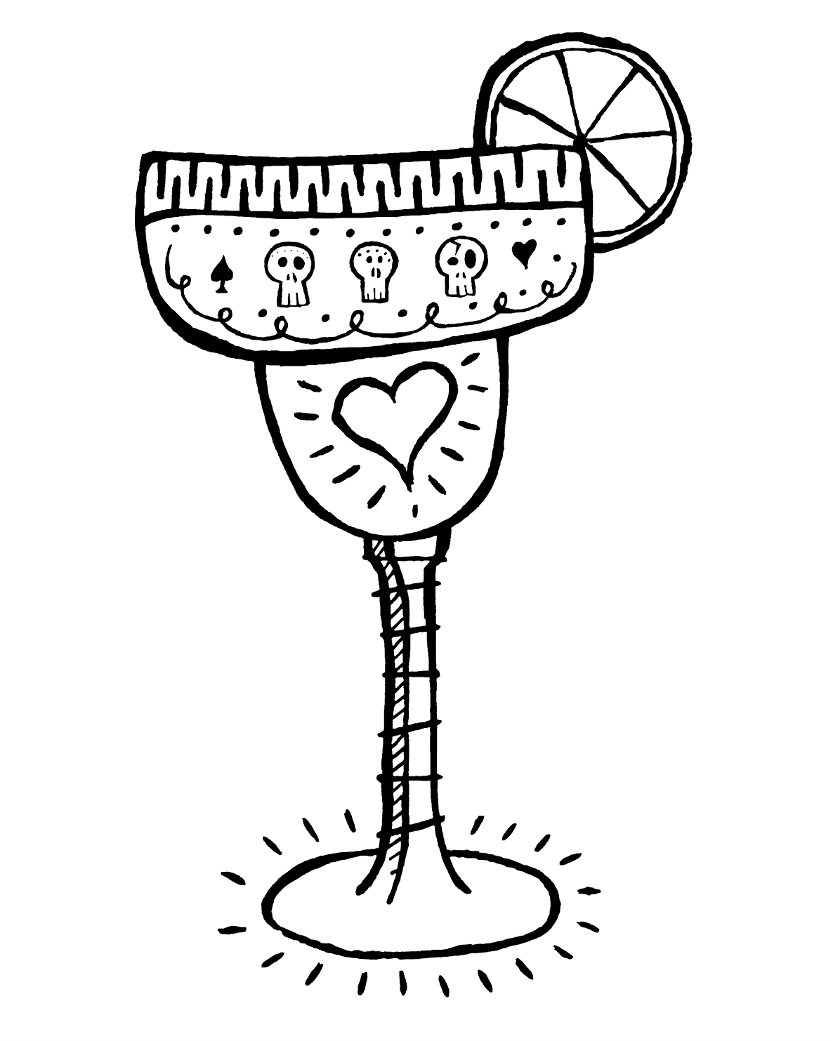 Free Printable Margarita Coloring Page for Adults #dayofthedead #diadelosmuertos #cincodemayo #coloringpage #freeprintable #margarita