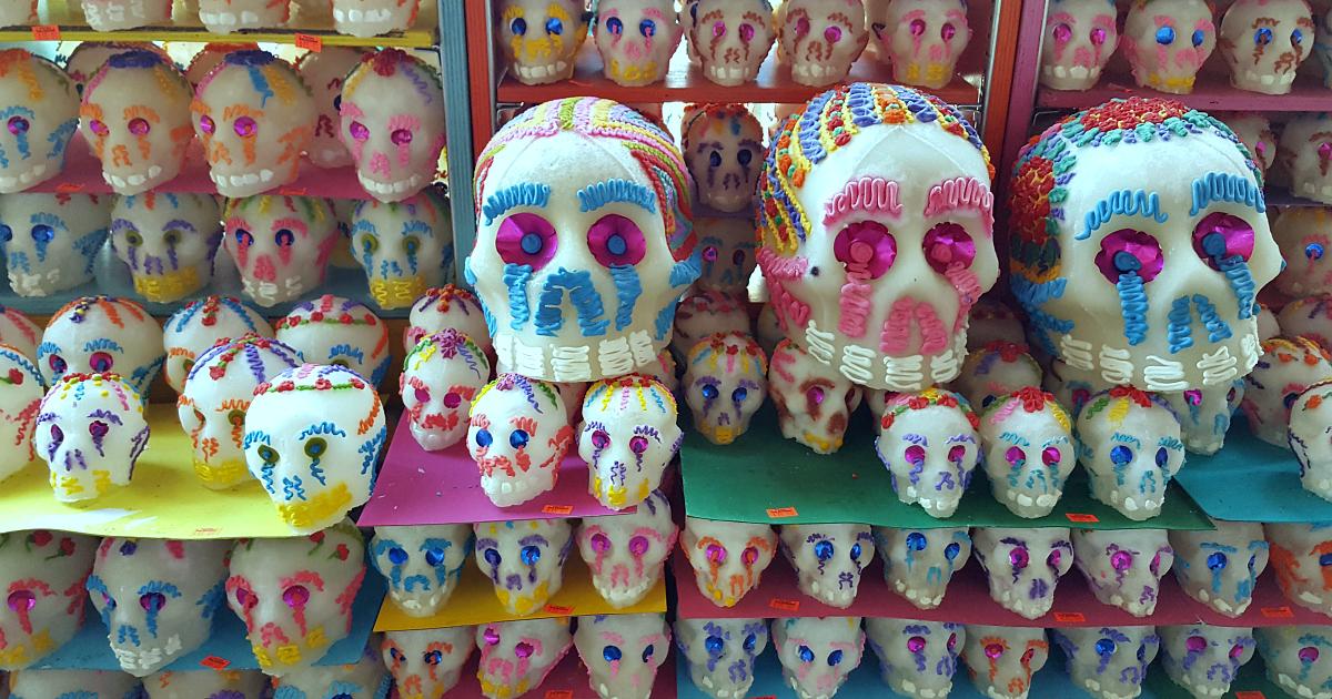 mexican market sugar skull display