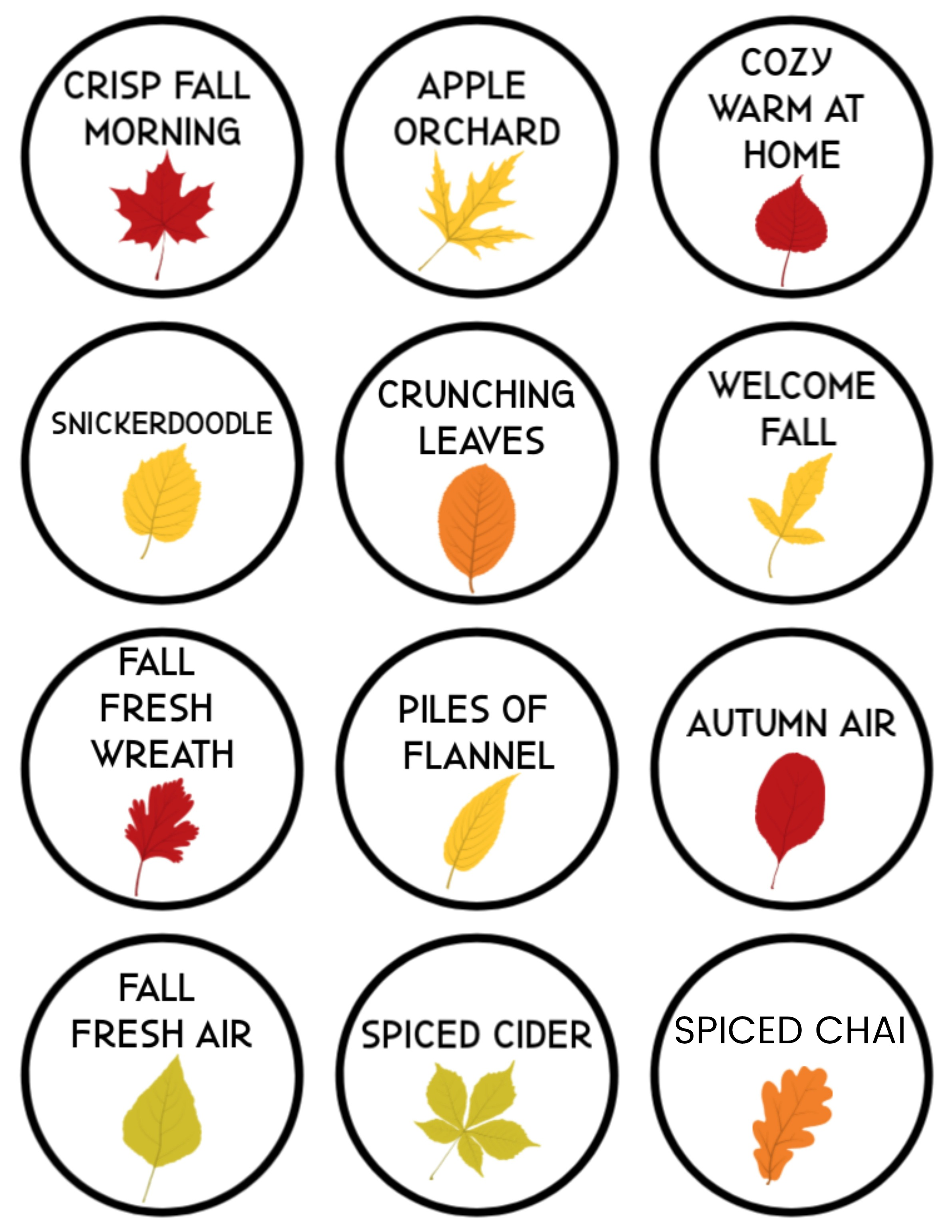 printable labels for fall room sprays