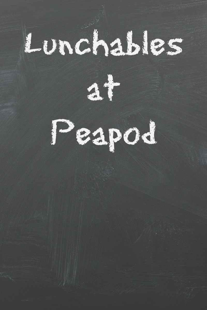 pin lunchables at peapod written on chalkboard