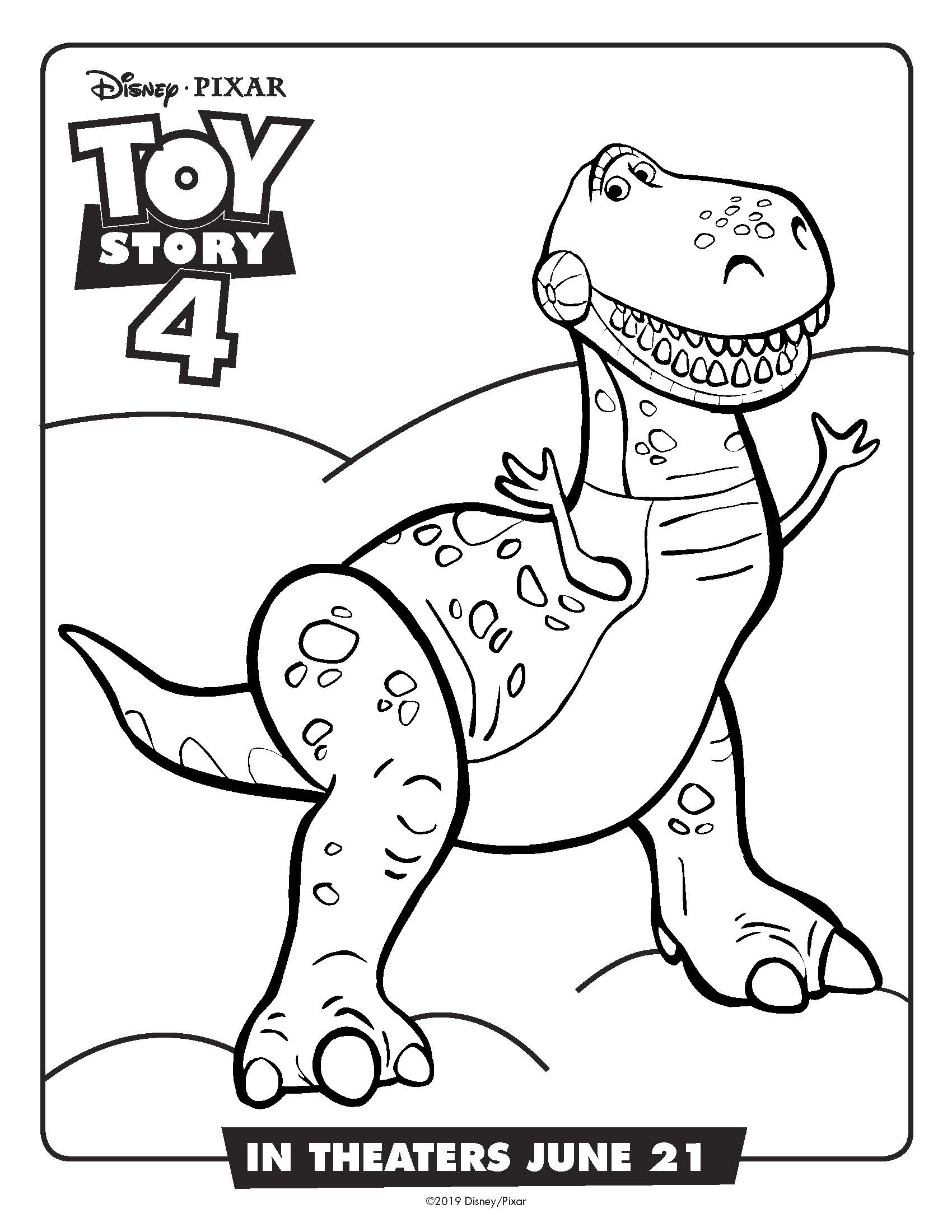 Free Printable Toy Story Rex Coloring Page #dinosaur #toystory #toystory4 #disney #freeprintable #coloringpage