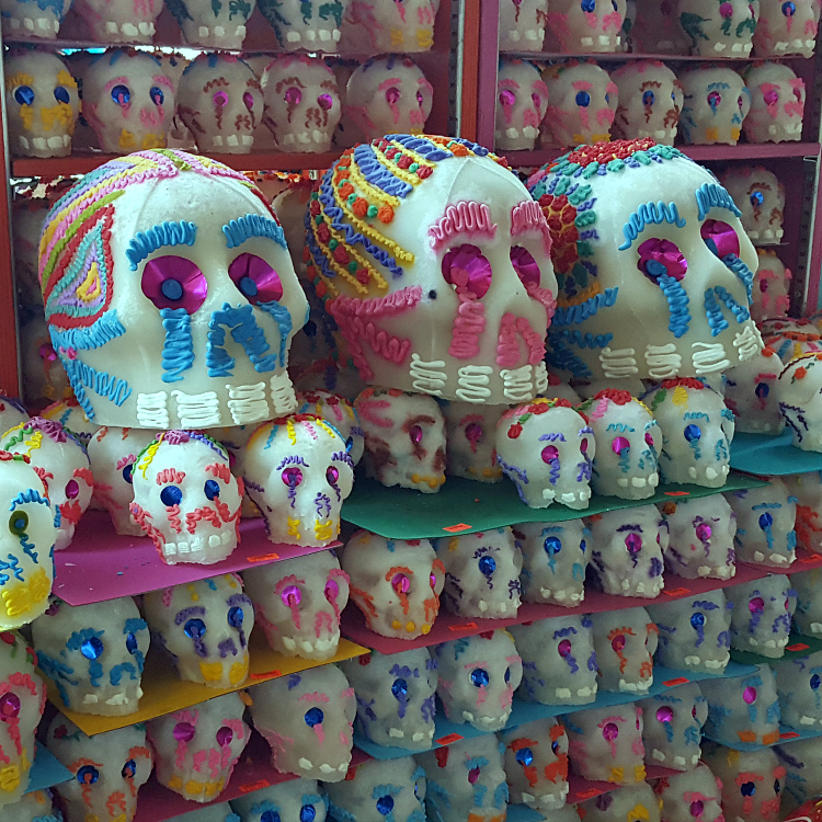 rows of sugar skulls