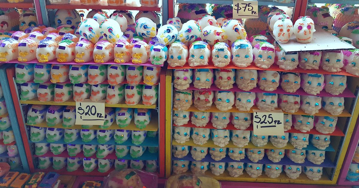 shelves filled with sugar skulls
