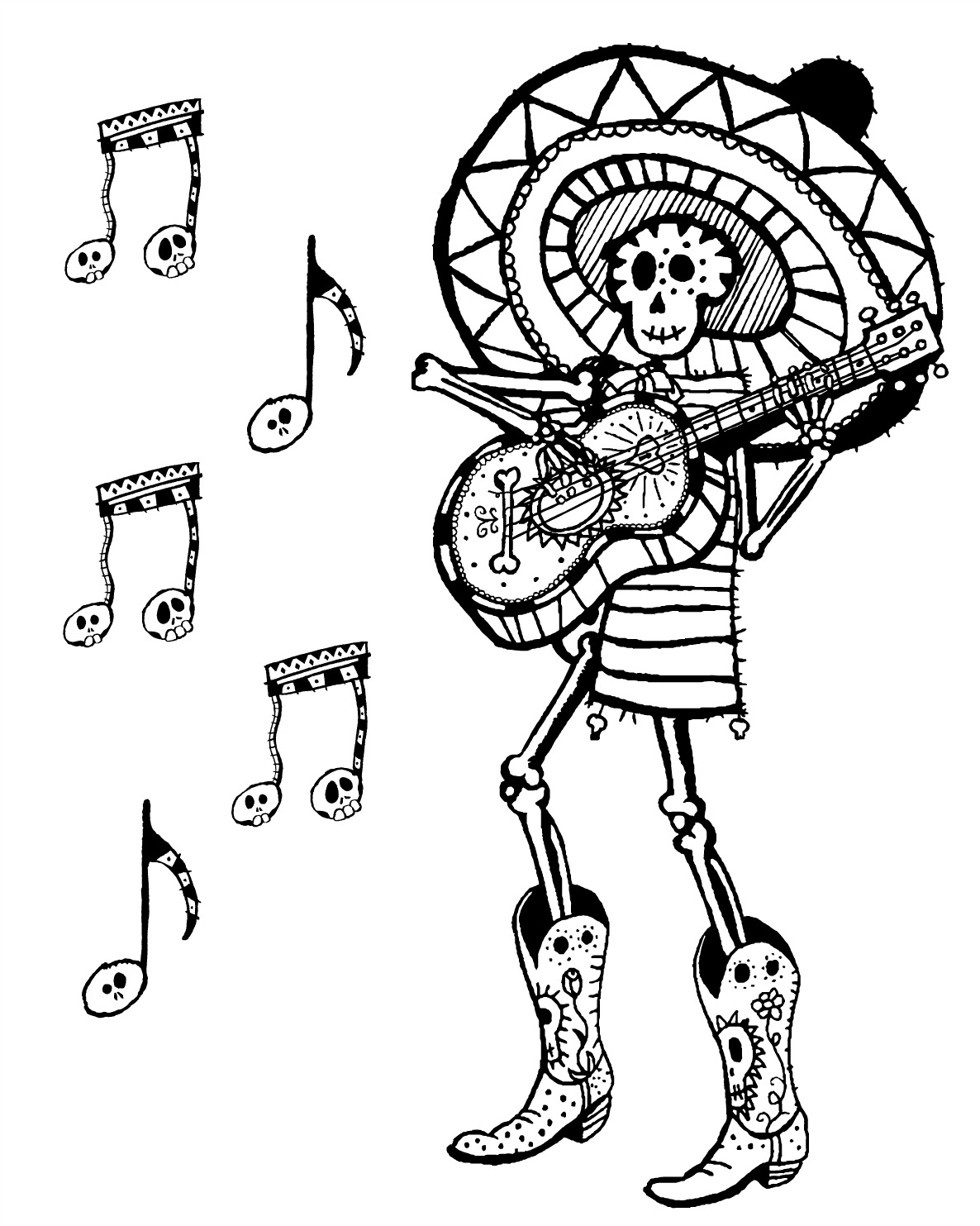Free Printable Day of the Dead Skeleton Musician Coloring Page #dayofthedead #diadelosmuertos #freeprintable #coloringpage #skeleton #musician #skeletonmusician #sugarskull