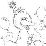 Free Printable Big Bird Birthday Coloring Page