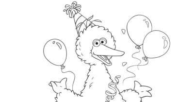 big bird birthday coloring page