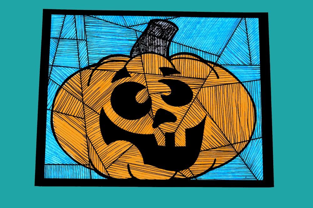 halloween pumpkin line study art