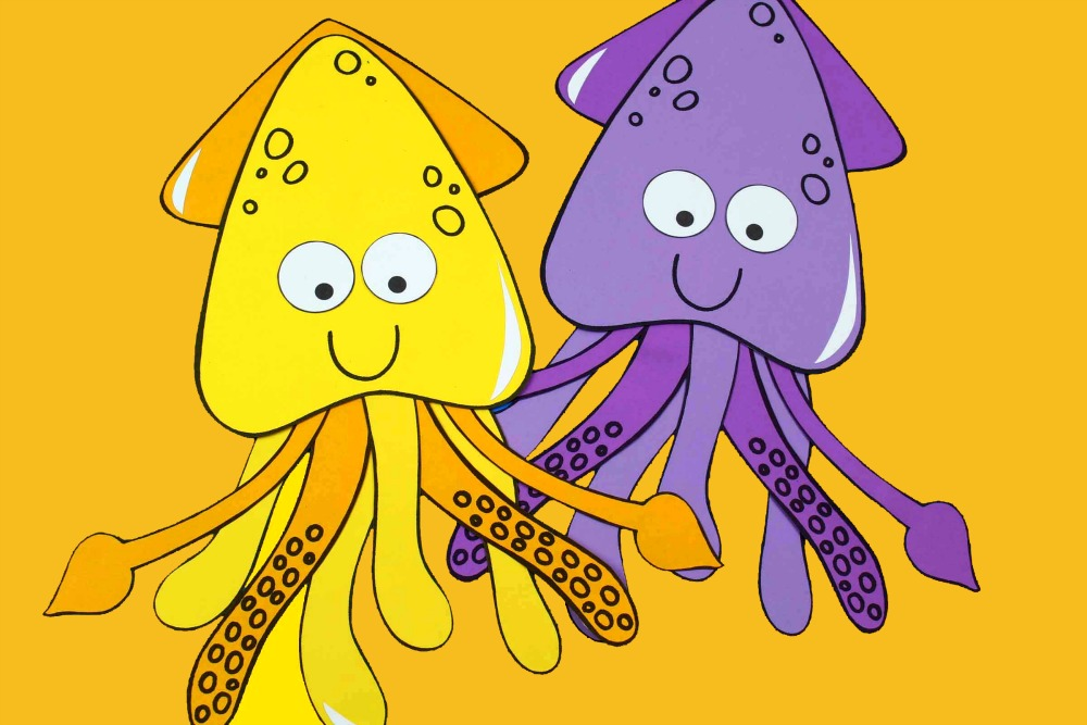 horizontal image of two happy squid crafts