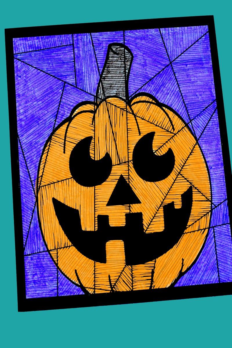 Halloween Happy Pumpkin Craft with free template #PaperCraft #FreePrintable #Halloween #HalloweenCraft #PumpkinCraft #LineStudy #FallCraft #Pumpkin