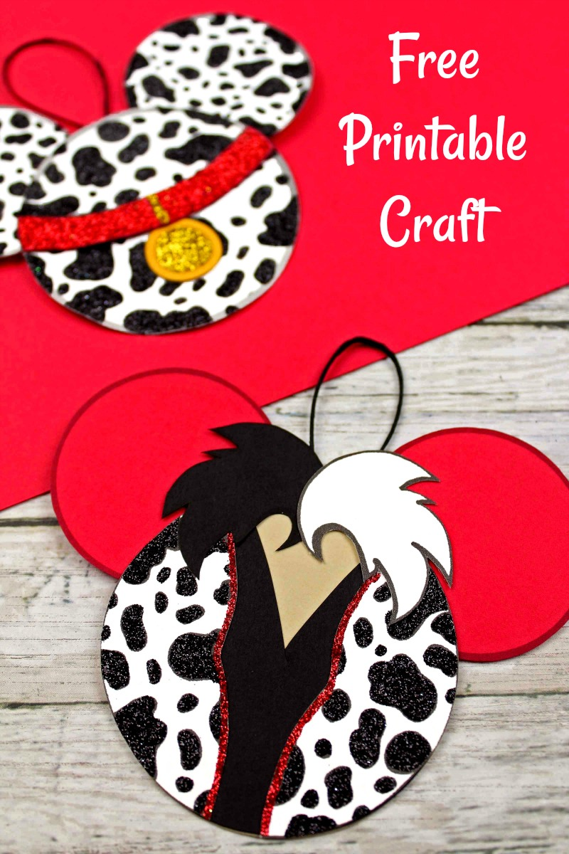 Free Printable Disney 101 Dalmatians and Cruella Ornament Craft #101Dalmations #Cruella #ChristmasOrnament #OrnamentCraft #Craft #DisneyOrnament #DisneyCraft #DisneyChristmasCraft #ChristmasCraft #Disney