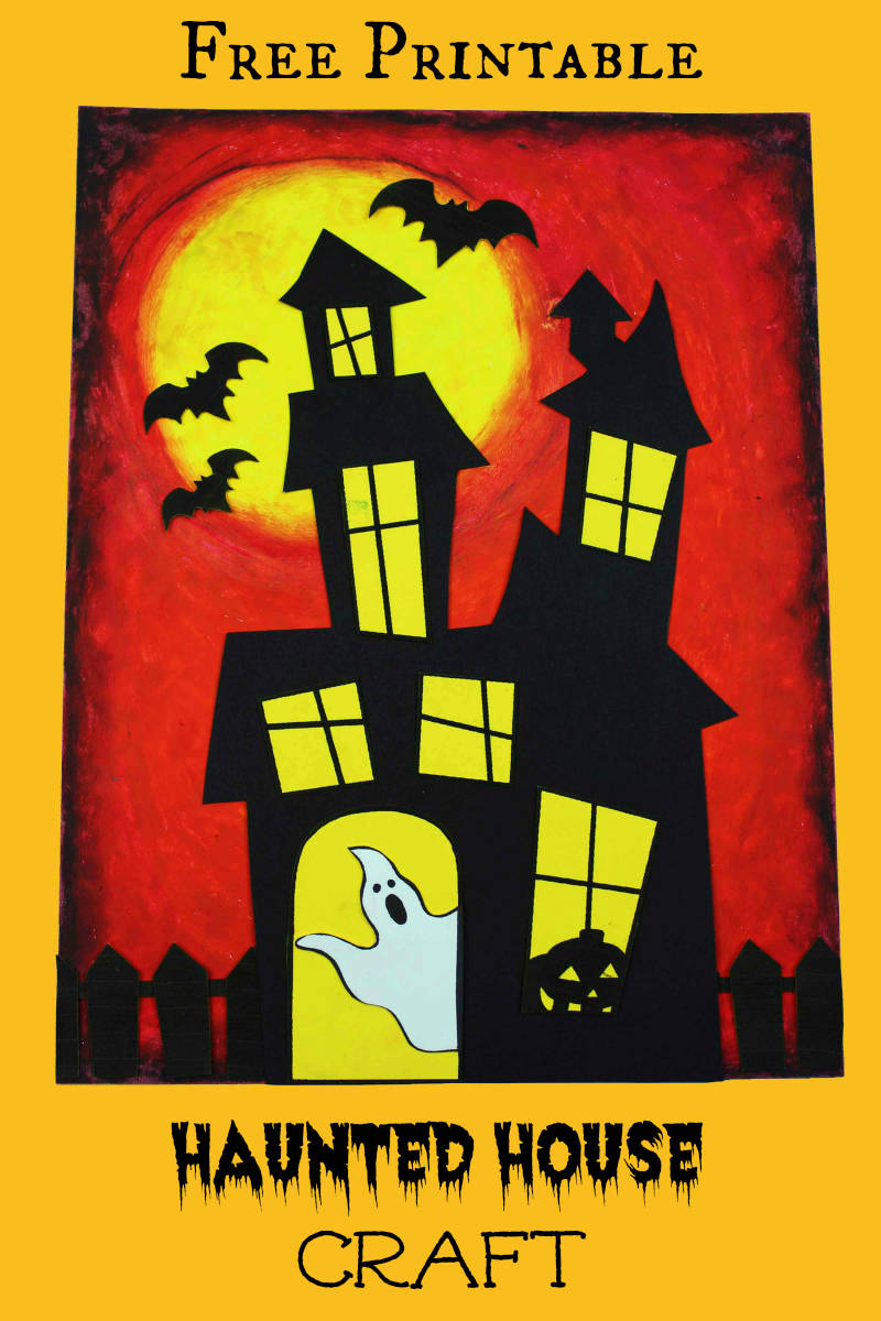 pin free printable haunted house craft