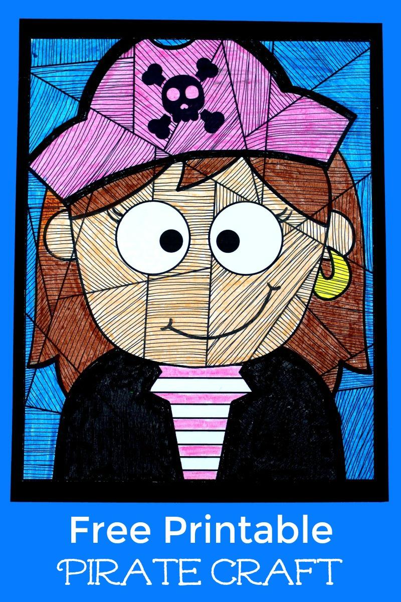 Free Printable Pirate Girl Craft #FreePrintable #Pirates #PirateGirl #GirlPirate #PirateCrafts #Craft #LineStudy
