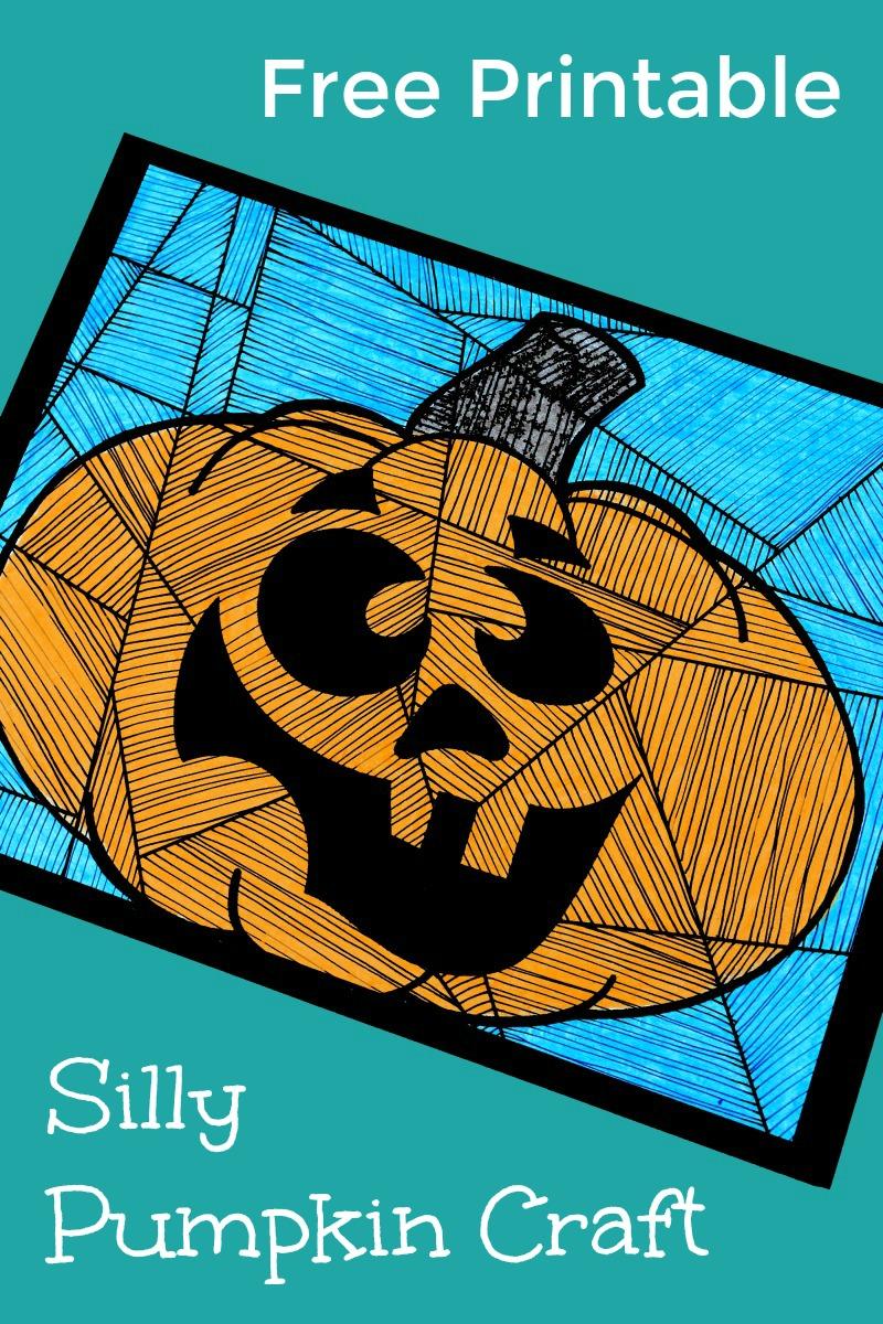 Free Printable Silly Pumpkin Craft for Halloween #NotSoScaryHalloween #PumpkinCraft #FreePrintable #PrintableCraft #Halloween #HalloweenPrintable #HalloweenCraft #Pumpkin