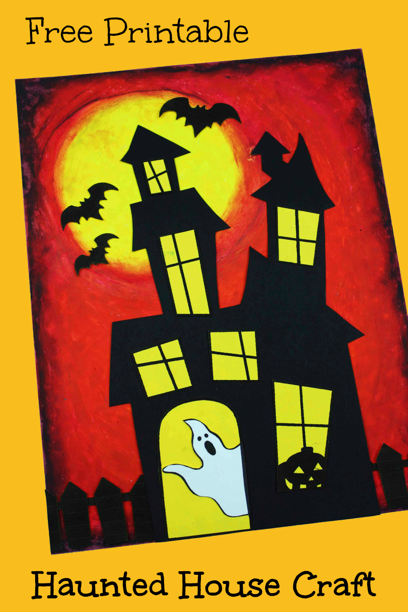 pin haunted house printable craft