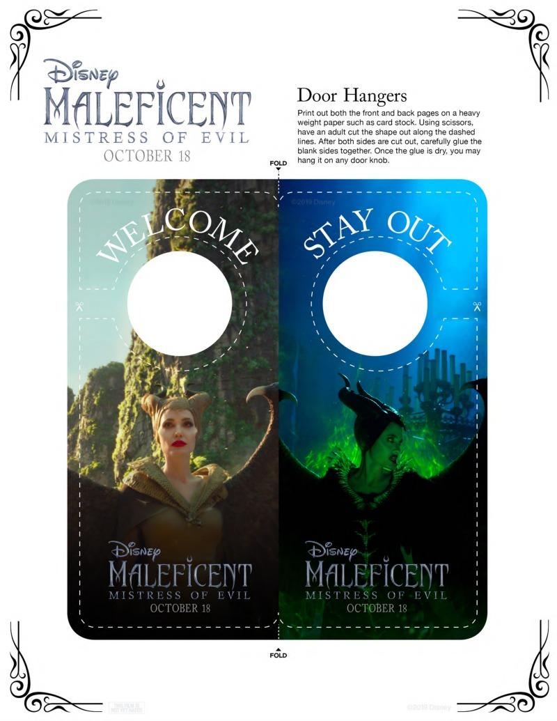 Free Printable Disney Maleficent Door Hanger Craft #Maleficent #MaleficentCraft #Disney #DisneyCraft #FreePrintable #AngelinaJolie