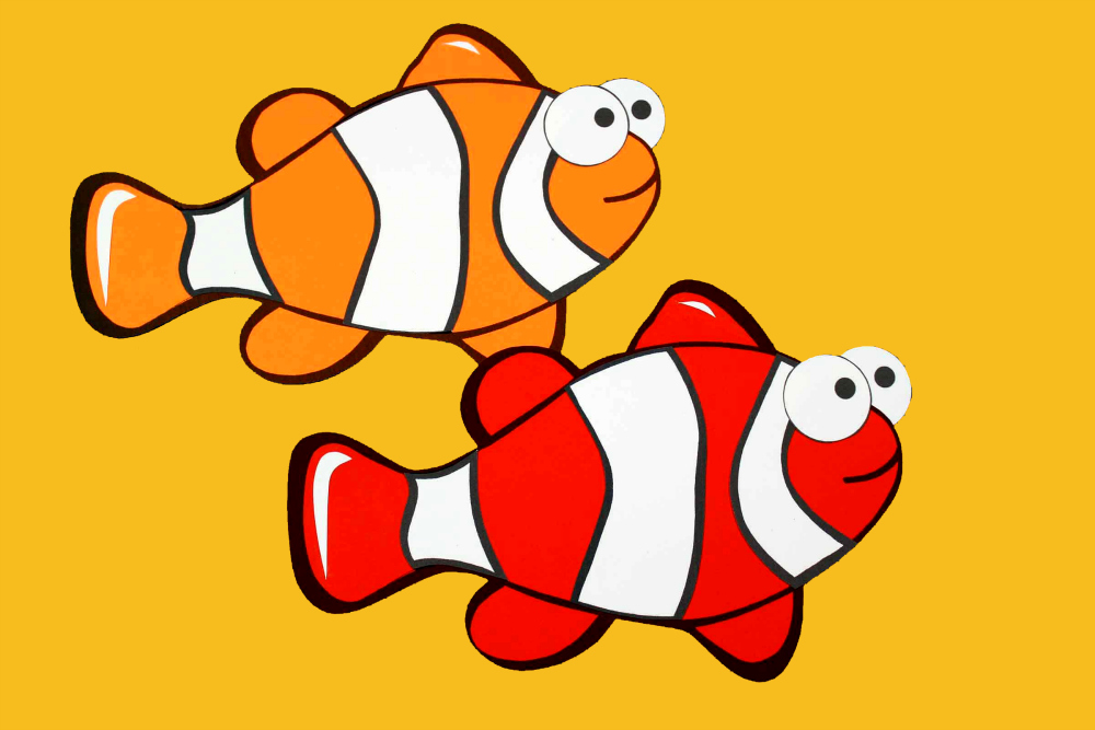 two clownfish paper craft