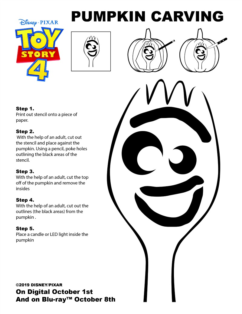 Free Printable Disney Toy Story Forky Pumpkin Stencil #FreePrintable #ToyStory #ToyStory4 #Forky #Halloween #HalloweenPrintable #PumpkinStencil #DisneyHalloween