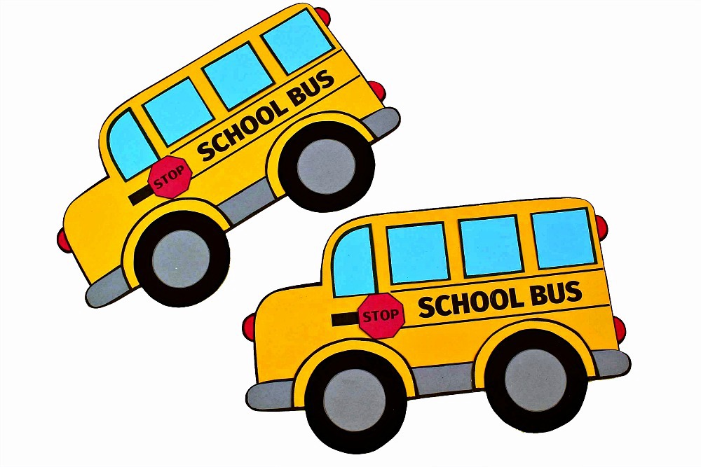 two school buses papercraft