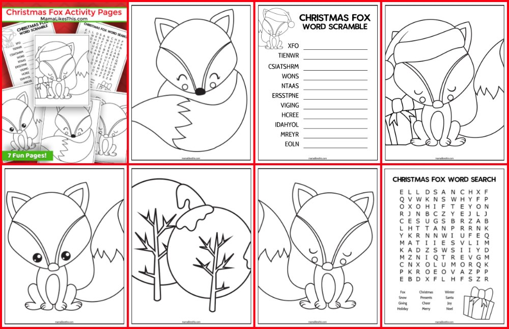 7 christmas fox activity pages
