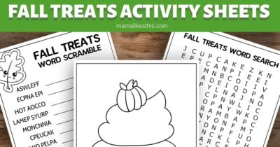 printable fall treats activity sheetsprintable fall treats activity sheets