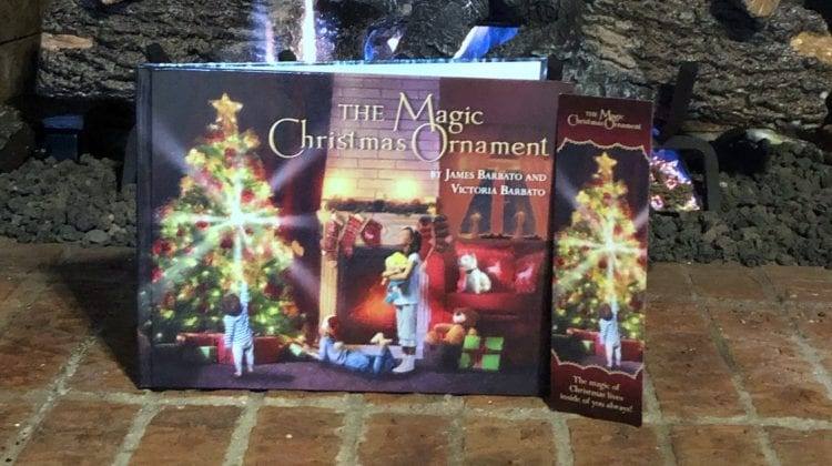feature magic christmas ornament by the fire