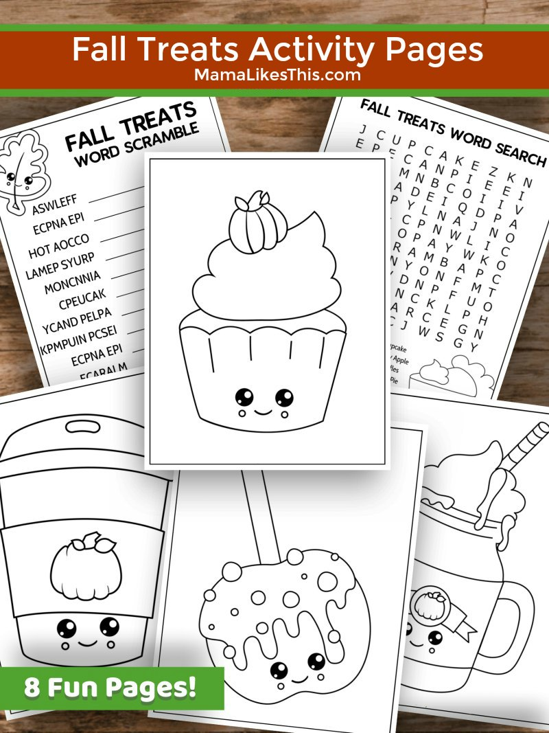 Fall Treats Activity Pages #FreePrintable #ColoringPage #Puzzles #Thanksgiving #ActivityPages #ActivitySheets
