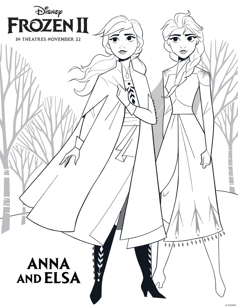 Disney Frozen 2 Free Printable Anna and Elsa Coloring Page #FreePrintable #Frozen #Frozen2 #Disney #ColoringPage #DisneyPrincess #Elsa #Anna