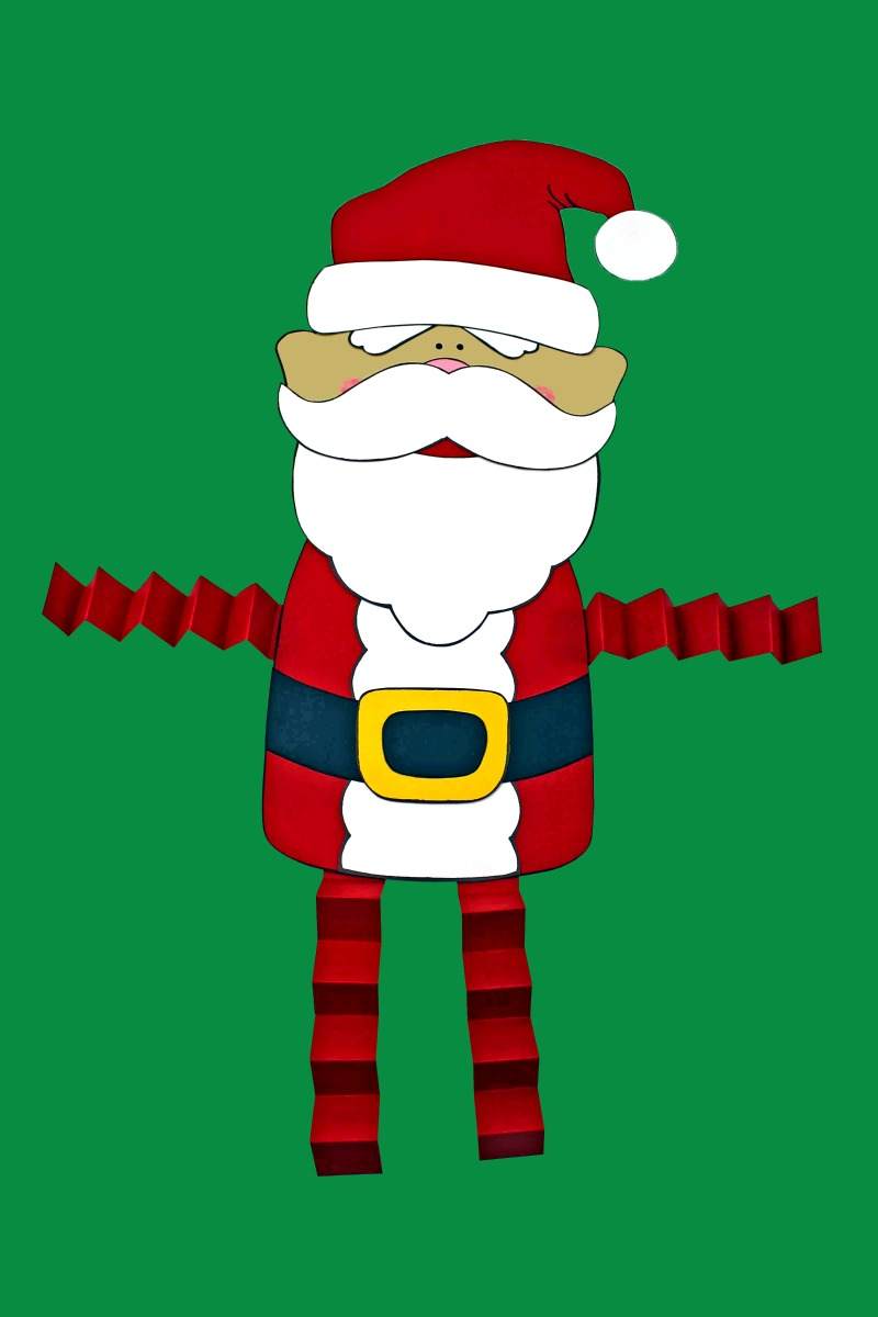 Santa Claus Craft with accordion legs #SantaCraft #ChristmasCraft #HolidayCraft #Santa #AccordionLegCraft #FreePrintable