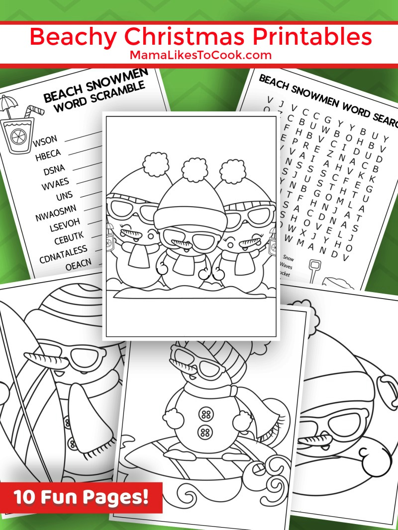 Beachy Christmas Snowman Activity Pages #FreePrintable #BeachChristmas #snowman #Christmas #ChristmasPrintable