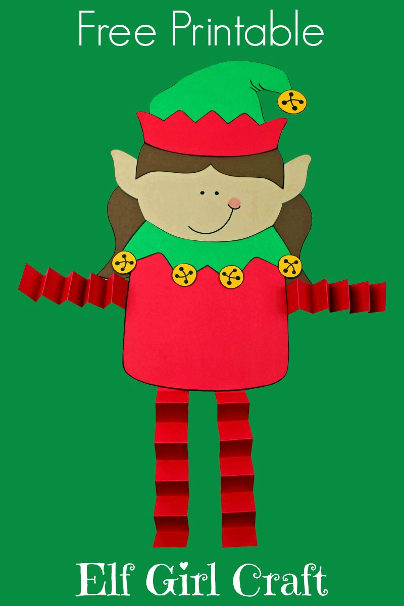 Elf Girl Craft for Christmas #ElfCraft #ChristmasCraft #PrintableCraft