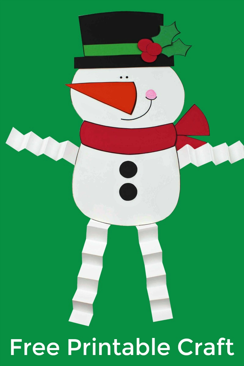 Free Printable Snowman Craft with Accordion Legs #Snowman #SnowmanCraft #Craft #PrintableCraft #FreePrintable