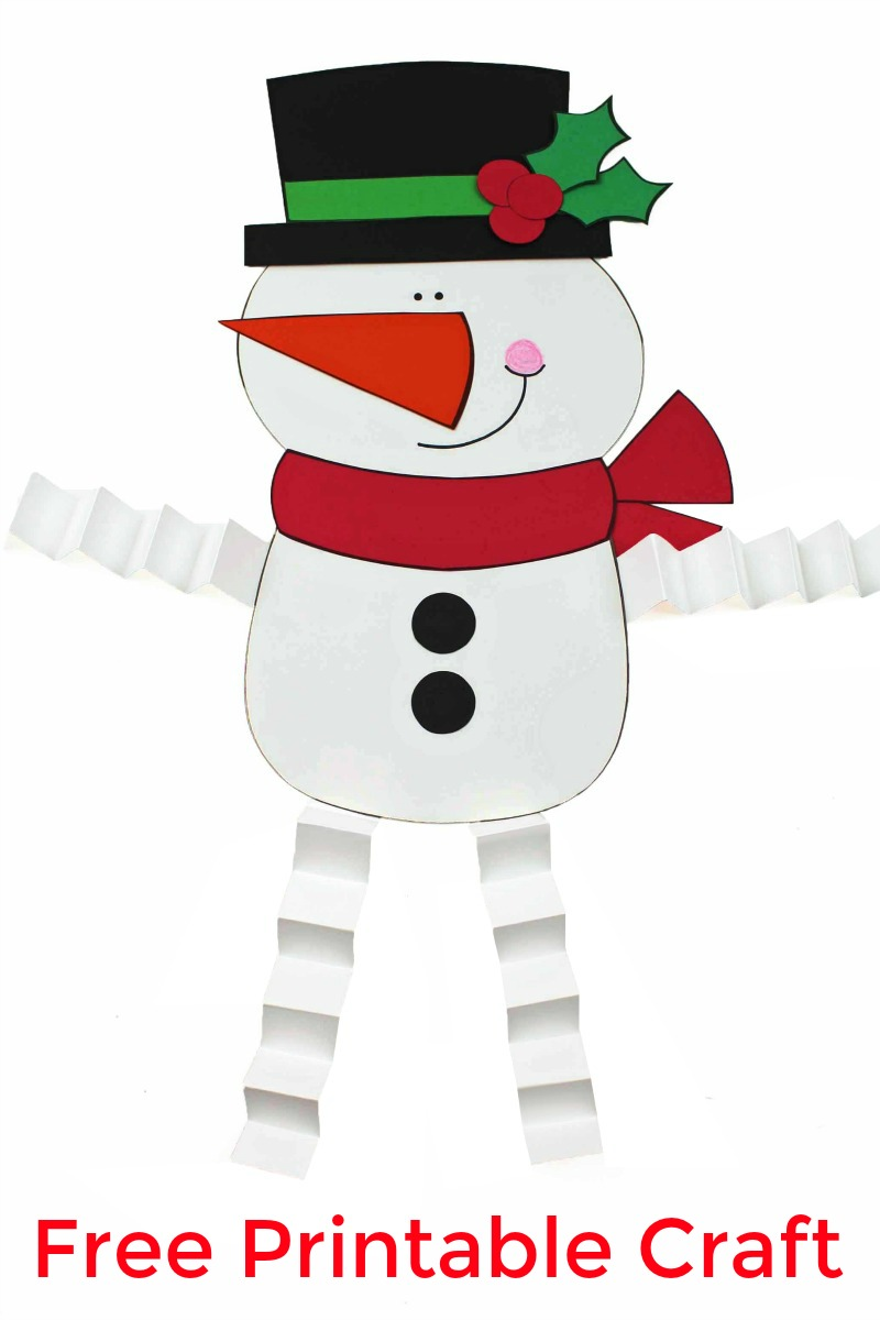 pin a snowman craft with accordion legs