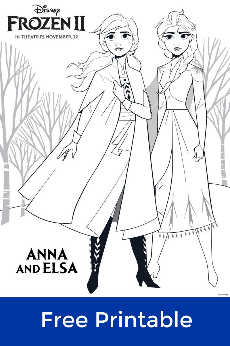 Disney Frozen 2 Free Printable Anna and Elsa Coloring Page #FreePrintable #Frozen #Frozen2 #DisneyColoringPage #DisneyPrincess #Elsa #Anna