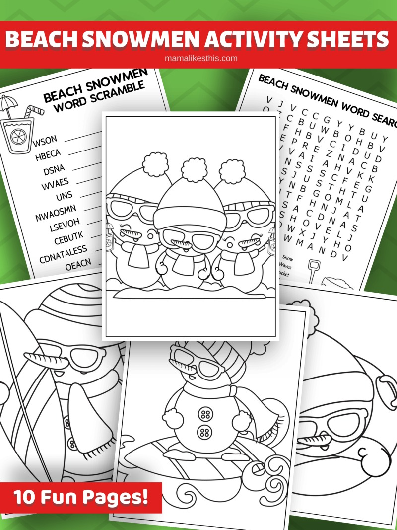 Free Printable Beachy Christmas Snowman Activity Pages #FreePrintable #BeachChristmas #snowman #snowmen #Christmas #ChristmasPrintable