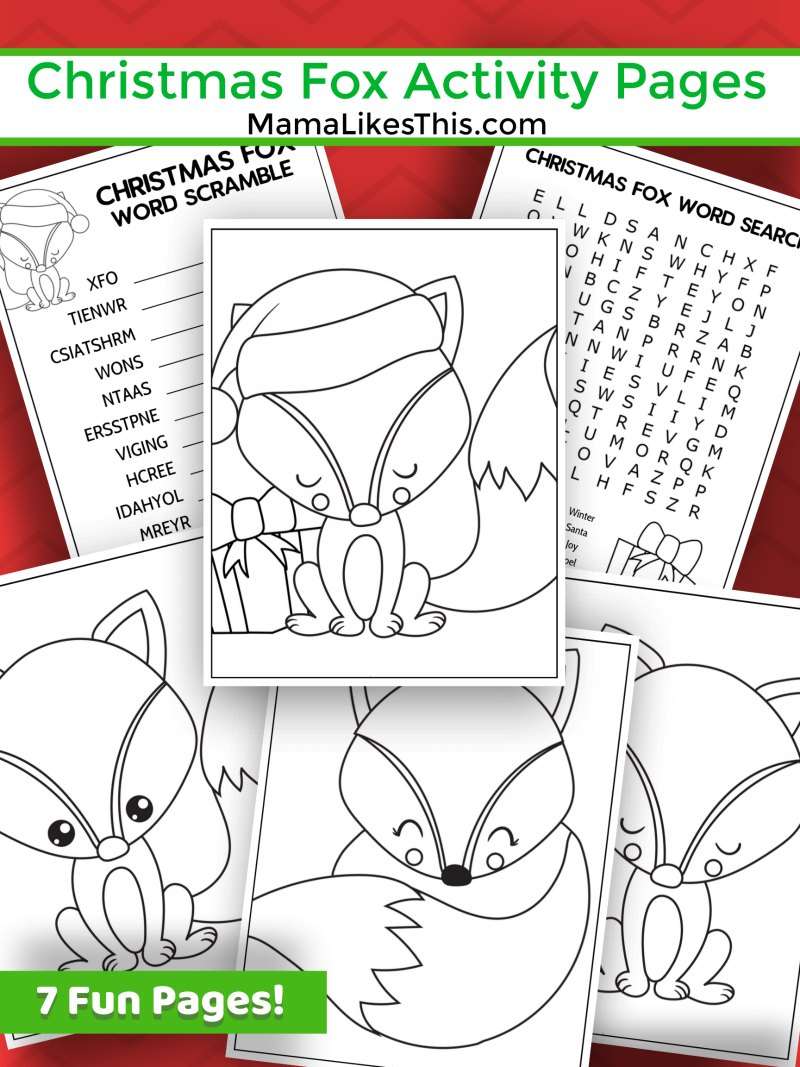 Free Printable Christmas Fox Activity Pages