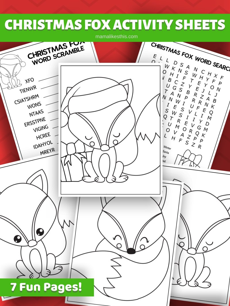 Free Printable Christmas Fox Activity Pages #FreePrintable #PrintableFox #Fox #ChristmasFox #ActivityPages #ColoringPage #WordPuzzles