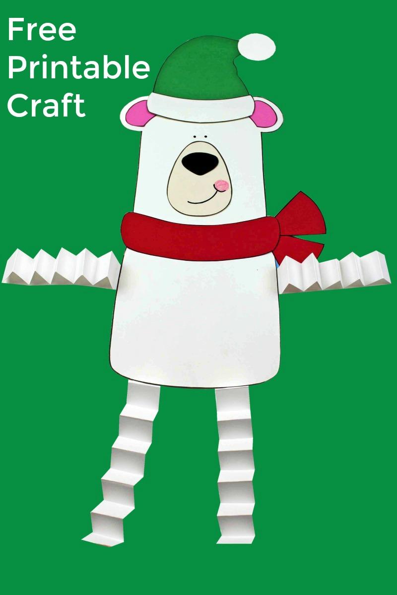 Polar Bear Craft with Accordion Legs #PolarBear #PolarBearCraft #ChristmasCraft #HolidayCraft #PrintableCraft