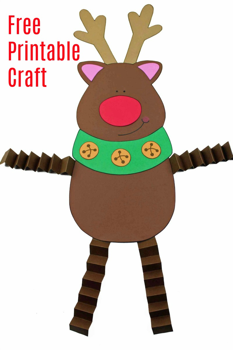 Reindeer Craft with Accordion Legs #FreePrintable #PrintableCraft #Reindeer #ReindeerCraft #ChristmasCraft #ChristmasDecor #ReindeerDecor