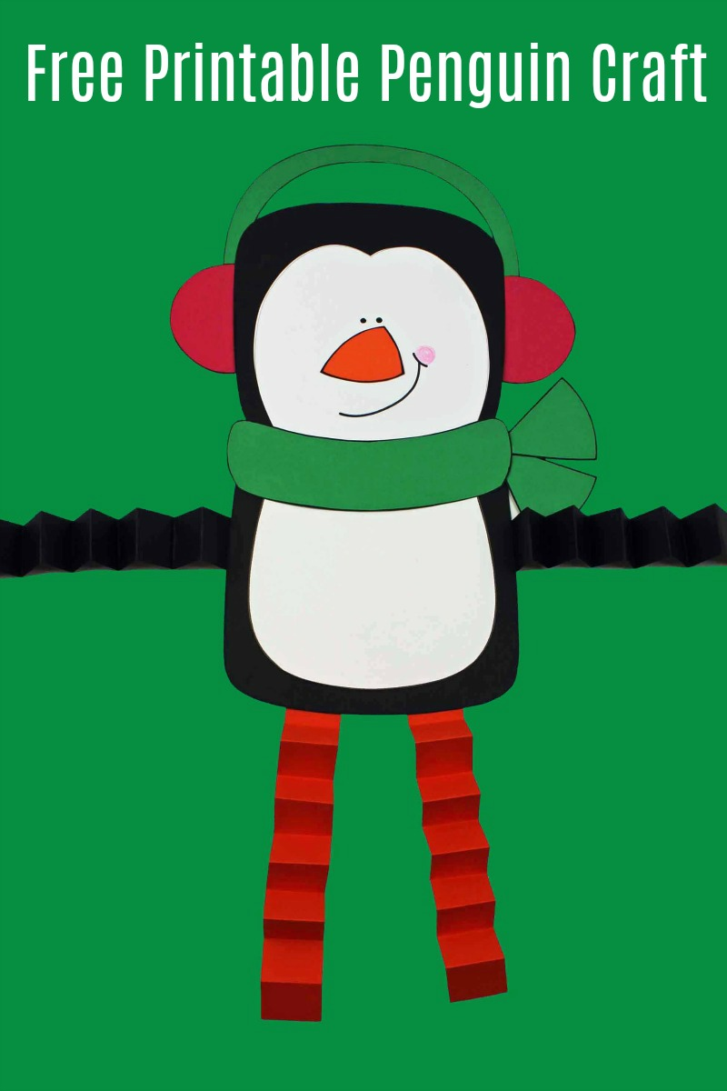 Penguin Craft with Accordion Legs #FreePrintable #PrintableCraft #Penguin #PenguinCraft #WinterCraft #HolidayCraft #ChristmasCraft