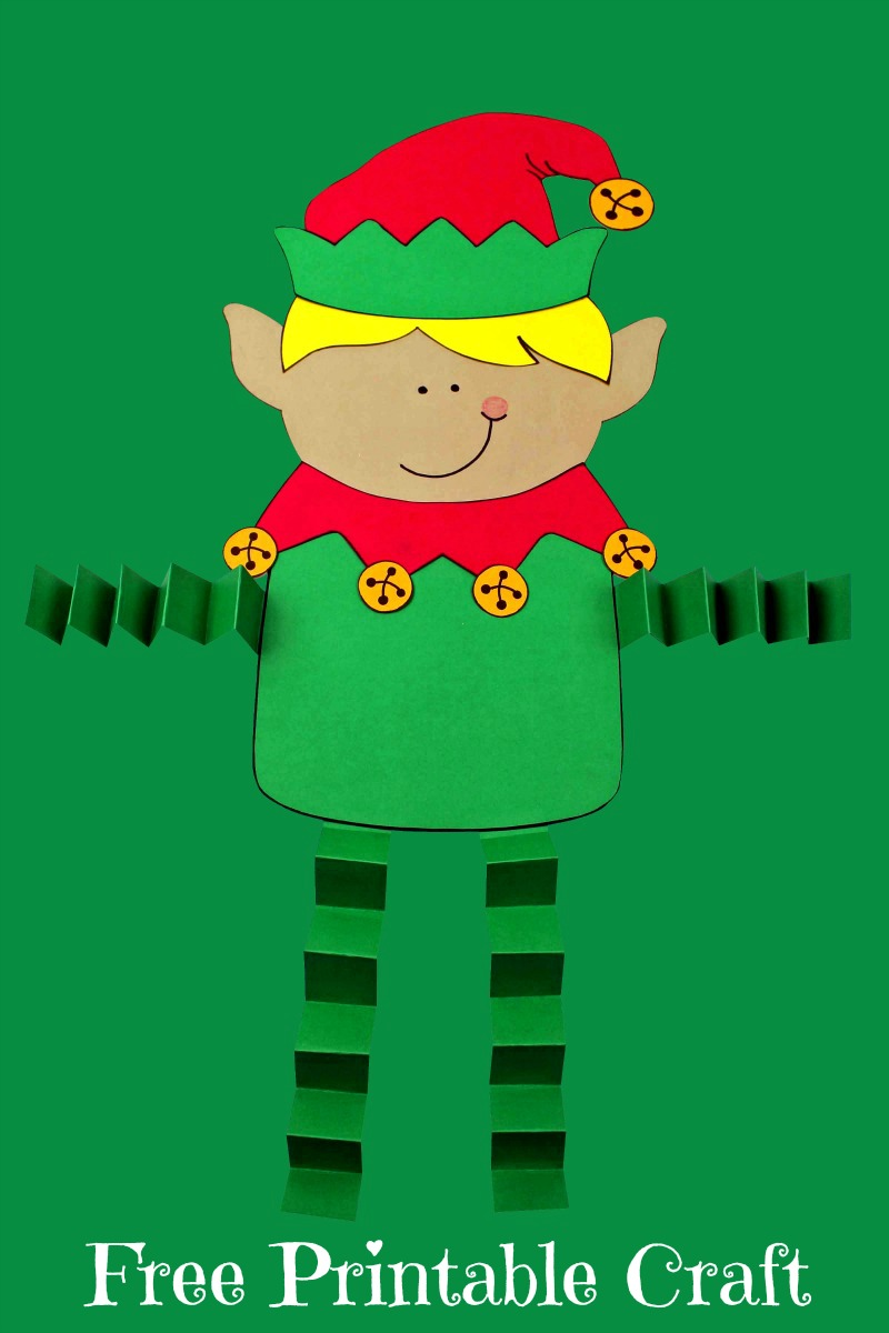 pin printable elf boy craft on green background