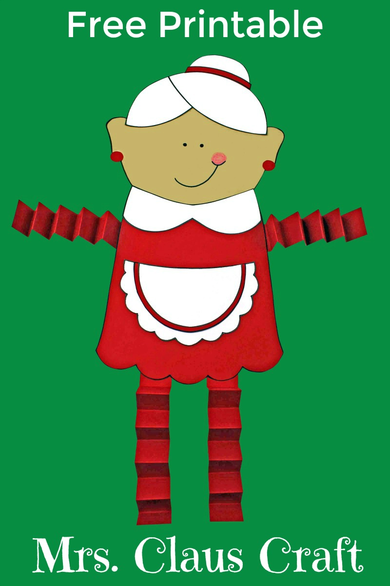 pin printable mrs claus craft on green background