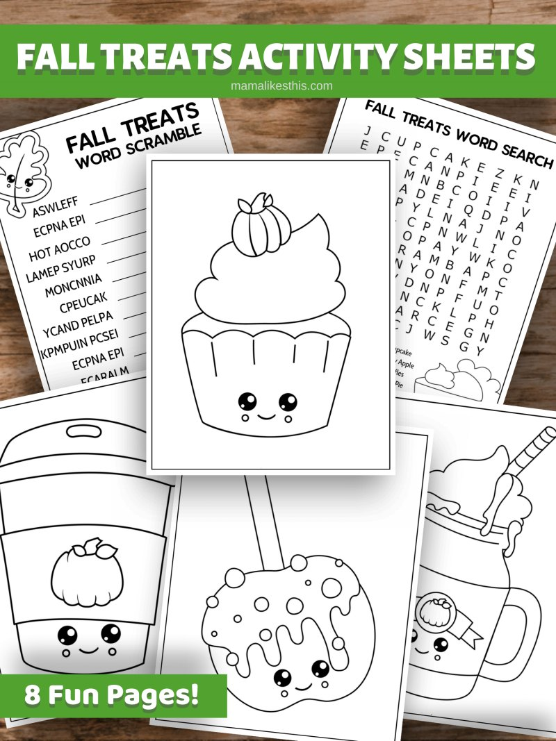 printable fall treats activity sheets