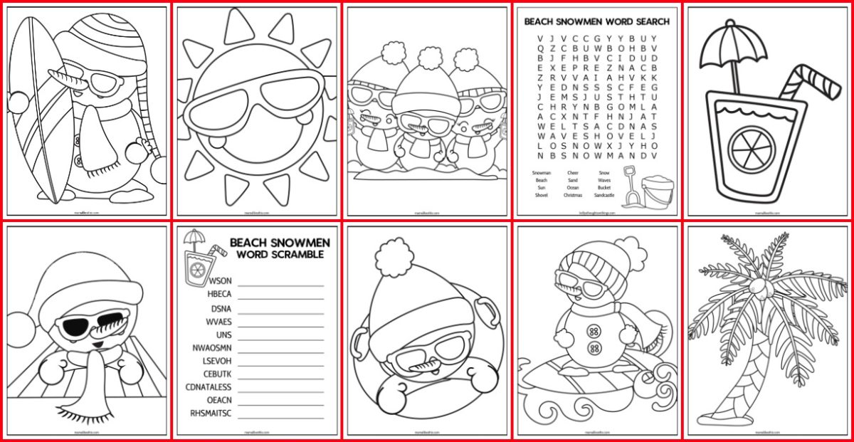 snowmen at the beach christmas printables