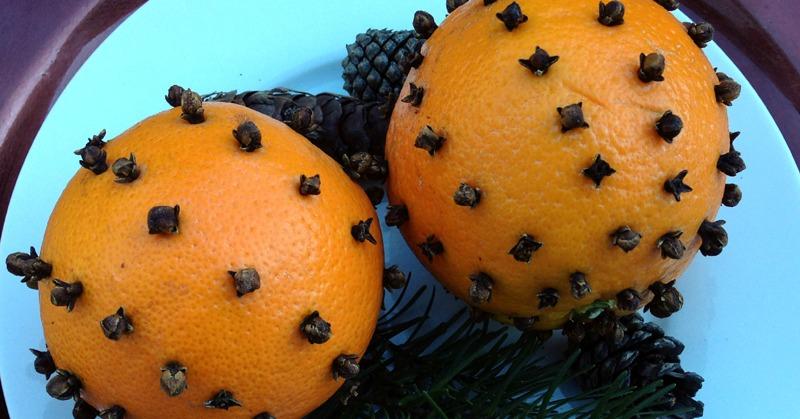 feature clove studded oranges