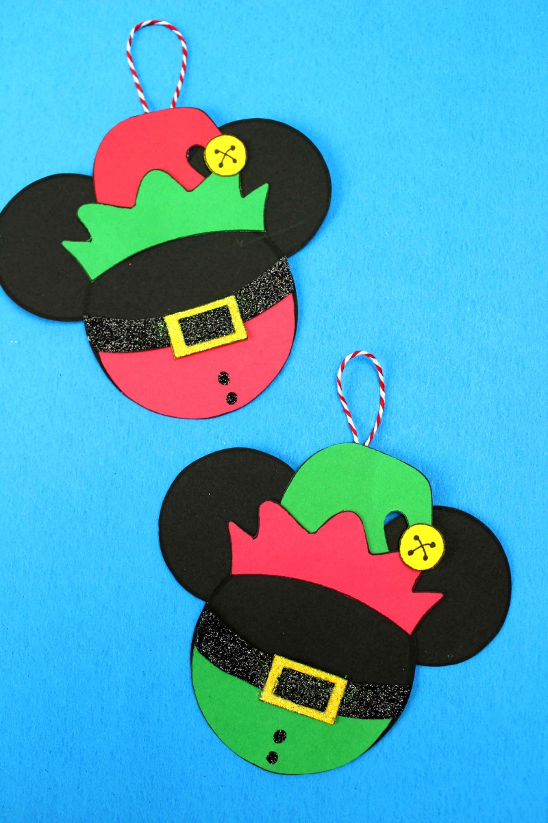 Disney Christmas Elf Mickey Craft #DisneyCrafts #MickeyHeadCrafts #MickeyHead #DisneyOrnaments